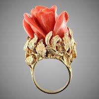 Monumental Precious Coral 14K Ring