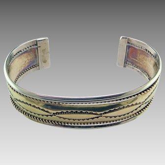 Navajo Sterling Silver Copper Bracelet