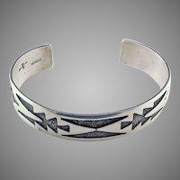 Hopi Overlay Sterling Silver Bracelet