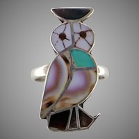 Zuni Owl Inlay Sterling Silver Ring