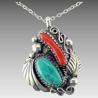 Navajo Coral Turquoise Sterling Silver Pendant