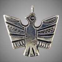 Navajo Ingot Coin Silver Thunderbird Pendant