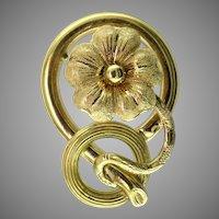Victorian Violet Snake 18K Gold Pin
