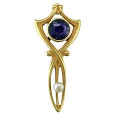 Art Nouveau Amethyst Pearl 14K Stick Pin