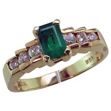 14K Natural Emerald and Diamond Ring