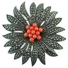 Judith Jack Poinsettia Precious Coral Marcasite Sterling Silver Pin