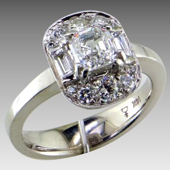 .80 Asscher Cut Diamond 14K White Gold Ring