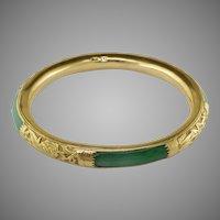 Arts & Crafts Jadeite Repousse 20K Gold Bangle Bracelet
