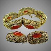 Carnelian Vermeil Filigree Bracelet Earring Set