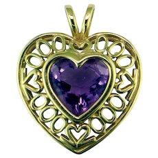 "Amethyst Heart in 14K Yellow Gold  ""Millennium"" Pendant"
