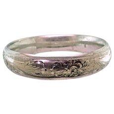 Hand Engraved Sterling Silver Bangle Bracelet