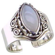 Bali Adjustable Sterling Silver Moonstone Ring