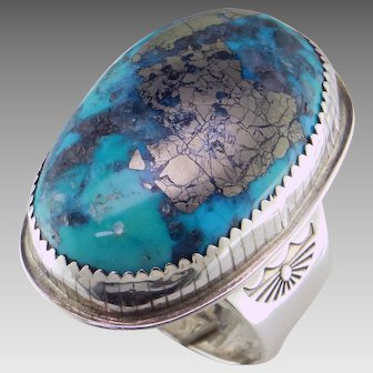 Magnificent Morenci Turquoise Sterling Silver Ring