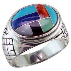 Zuni Inlay Sterling Silver Ring