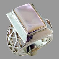 Big Mother of Pearl Sterling Silver Ring