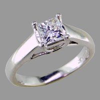 14K White Gold and Platinum Princess Cut Diamond Ring