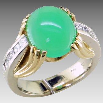 Gorgeous Chrysoprase Diamond 18K Gold Ring
