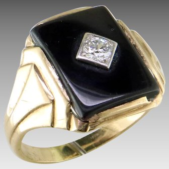 Art Deco Man's Diamond Black Onyx 14K Gold Ring
