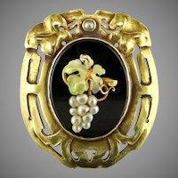 Arts & Crafts Black Onyx Seed Pearl 14K Brooch