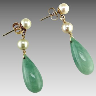 Jadeite and Cultured Pearl 14K Earring Drops