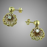 Diamond 14K Yellow Gold 70's Dangle Earrings