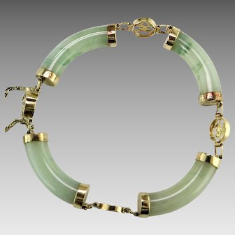 Jadeite 14K Yellow Gold Bracelet