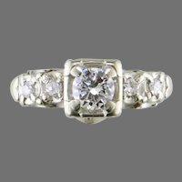 White Gold Mid Century Engagement Ring
