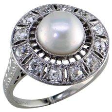 Edwardian Natural Freshwater Pearl Diamond Platinum Ring