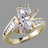 Marquise Baguette Diamond 14K Yellow Gold  Ring