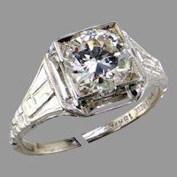 Filigree 18K White Gold 1.43 ct Diamond Ring