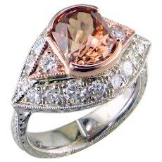 Stunning Zircon Diamond White Rose Gold Ring