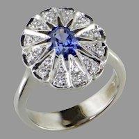 Sapphire Diamond 14K White Gold  Ring
