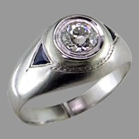 Edwardian/Art Deco Diamond Sapphire Gypsy 20K Gold Ring
