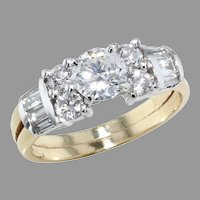 14K Yellow and White Gold Diamond Wedding Set