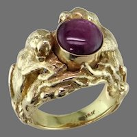 Natural Star Ruby Panther Ring