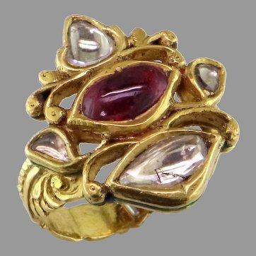 Moghul Style Ruby Diamond Enameled 22K Gold Rng