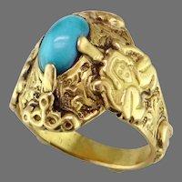 21K Yellow Gold Turquoise Ring