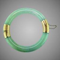 Light Green White Jadeite 14K Gold Bangle Bracelet