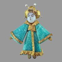 Art Nouveau Geisha Amazonite 14K Brooch