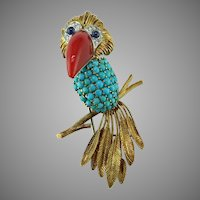 Toucan 18K Gold Brooch