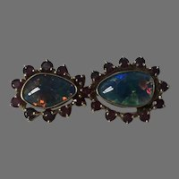 Yellow Gold Opal Triplet and Natural Ruby Brooch