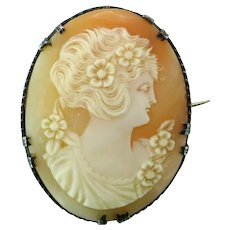 Art Deco Shell Cameo Sterling Silver Brooch