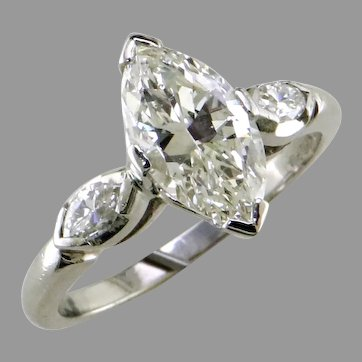 1.60 ct Marquise Diamond 50's Platinum Ring