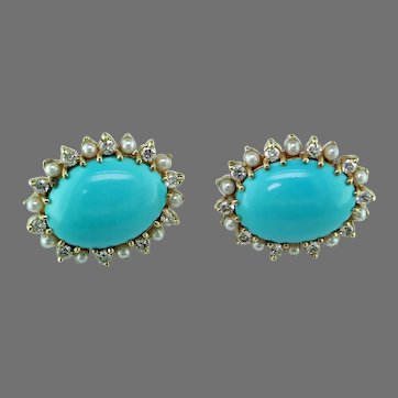 Sleeping Beauty Turquoise Pearl Diamond 14K Gold Earrings