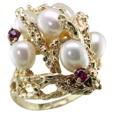 FW Cult Pearl Ruby 14K Gold Ring