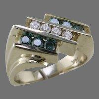 White Gold Blue and White Diamond Ring