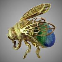 Enameled Bumble Bee 18K Yellow Gold Pin