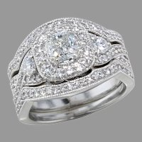 Radiant Cut Diamond 3 Ring Wedding Set