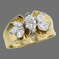 14K Gold Marquise Diamond Cluster Ring