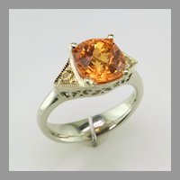 Spessartite Garnet Ring with Fancy Yellow Diamonds